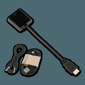 HDMI naar VGA (+ Audio) Adapter met Extra Voeding - Bovenkant + AUX Kabel (Meegeleverd)