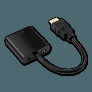 HDMI naar VGA (+ Audio) Adapter met Extra Voeding - Achterkant