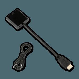 HDMI naar VGA (+ Audio) Adapter - Bovenkant + AUX Kabel (Meegeleverd)